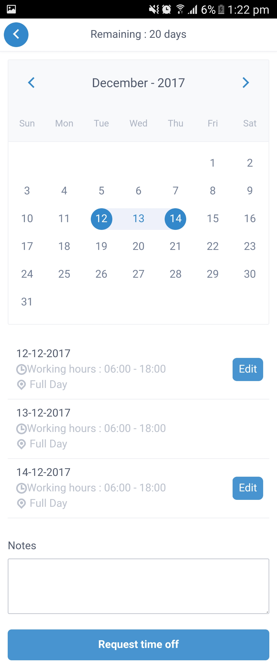 Employee Holiday App