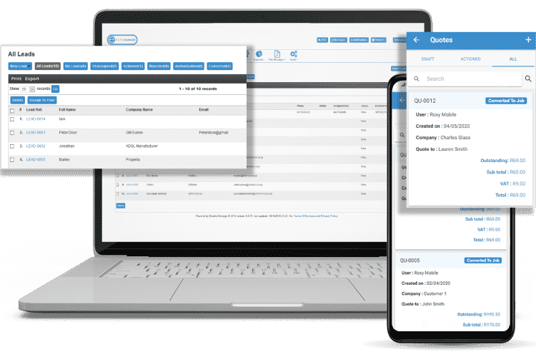 Track Leads and Quote On-site - Job Management Software