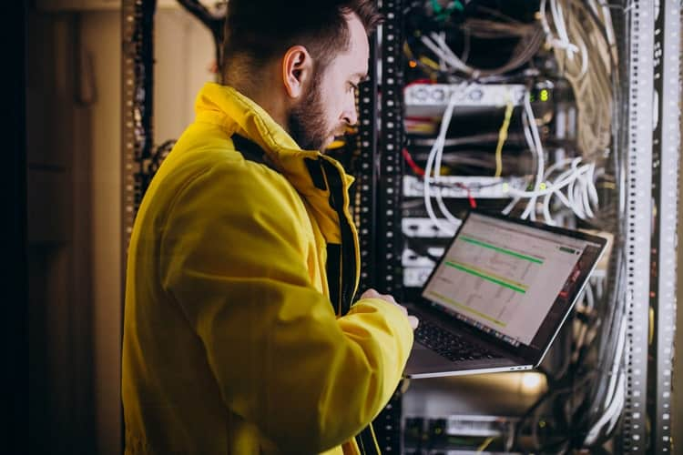 Technician using ERP Software